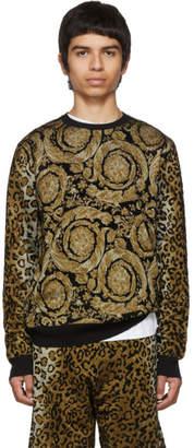 Versace Black Leopard Barocco Print Sweater