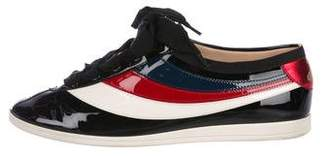 Gucci Striped Patent Leather Sneakers