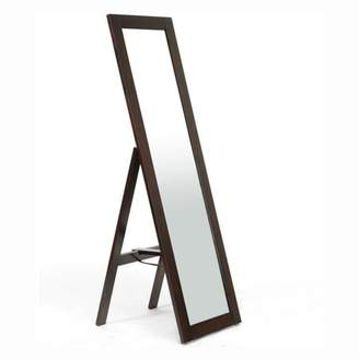 Baxton Studio Lund Wood Modern Mirror with Built-In Stand, Dark Brown