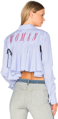 OFF-WHITE Back Ruffle Striped Shirt $536 thestylecure.com