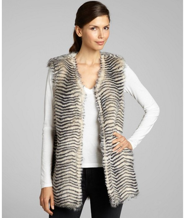Betsey Johnson black and white belted striped faux fur vest