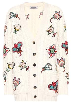 Valentino Floral-embroidered wool cardigan
