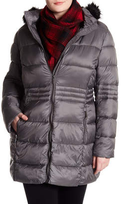 French Connection Full Zip Faux Fur Trim Hooded Puffer Jacket (Plus Size)