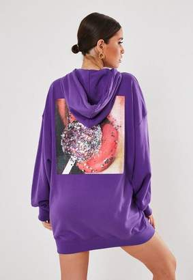Missguided Purple Oversized Hooded Glitter Graphic Sweater Dress