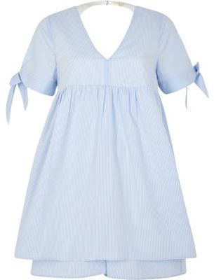 River IslandRiver Island Womens Blue stripe tie sleeve babydoll romper
