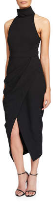 Camilla And Marc Amaral High-Neck Sleeveless Draped Cocktail Dress