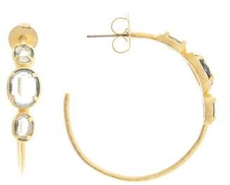 Rivka Friedman 18K Gold Clad Faceted Aquamarine Crystal Open Hoop Earrings