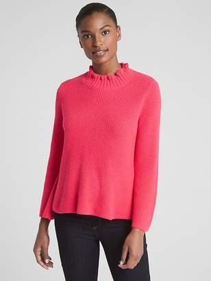 Ruffle Mockneck Pullover Sweater