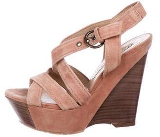 Pura Lopez Suede Platform Wedge Sandals
