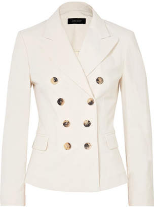 Double-breasted Cotton-blend Blazer - Ecru