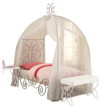 Acme Priya II Full Canopy Bed, White and Light Purple