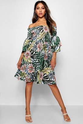 boohoo Soph Shirred Off The Shoulder Tropical Midi Dress
