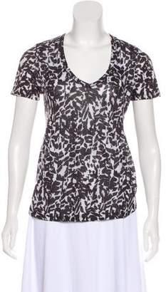 Isabel Marant Linen Printed V-Neck T-Shirt
