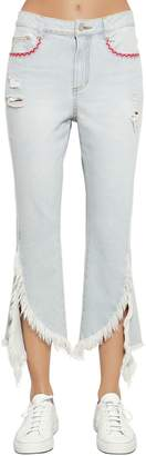 Sjyp Fringed Flared Cotton Denim Jeans