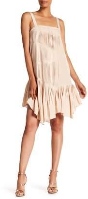 Tibi Pleated Silk Sheath Dress