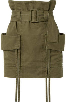 Saint Laurent Belted Cotton And Ramie-blend Gabardine Mini Skirt - Army green
