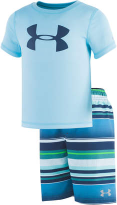 aab1e561d0 Under Armour Toddler & Little Boys 2-Pc. Rash Guard & Striped Swim Trunks