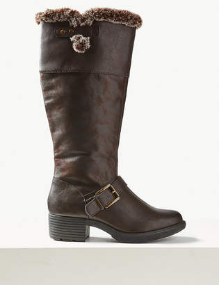 Marks and Spencer Faux Fur Buckle Knee Boots