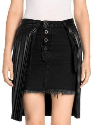 Unravel Project Unravel Project Women's Pleated Leather Denim Wrap Skirt - Black - Size 36 (0)