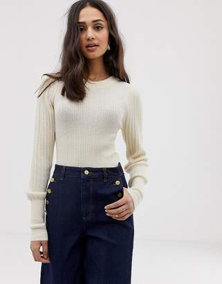 Asos Design DESIGN rib knit jumper in natural look yarn