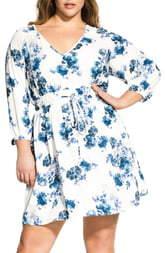 City Chic Floral Print Drawstring Waist Dress