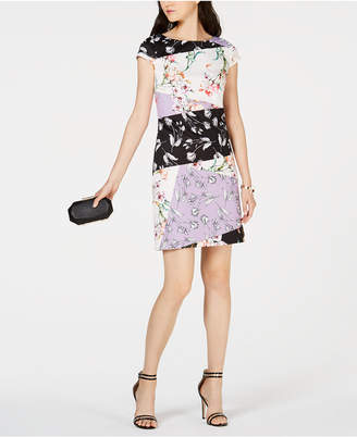 Vince Camuto Printed Colorblocked Sheath Dress