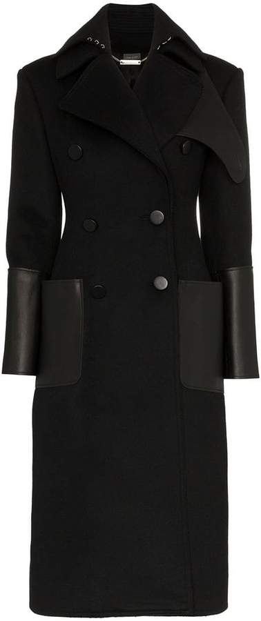 Alexander McQueen Double-Breasted Coat With Leather Pockets