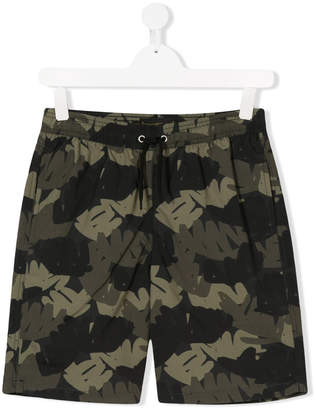 Finger In The Nose TEEN tropical palm camouflage shorts