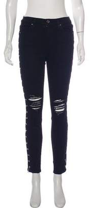 Amiri Distressed Mid-Rise Jeans
