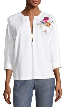 Trina Turk Exotic Bloom Embroidered Poplin Top