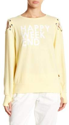 """Peace Love World Cinthia \""""Happy Weekend\"""" Cold Shoulder Pullover"""