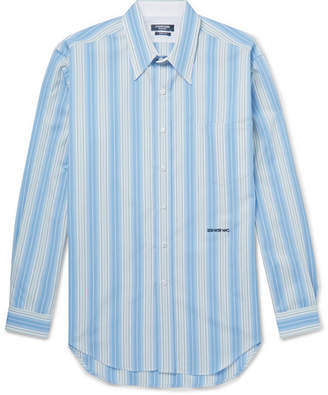 Calvin Klein Striped Cotton-Poplin Shirt