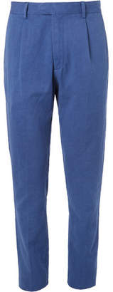 Hartford Teddy Pleated Cotton And Linen-Blend Chinos