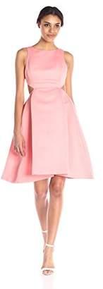Halston Women's Sl Boatneck Strctured Satin Faille Dress W Cut Out