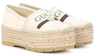 Gucci Logo platform canvas espadrilles