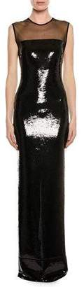 Tom Ford Sleeveless Liquid-Sequin Evening Gown with Illusion