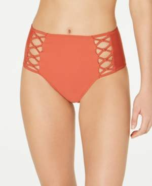 Volcom Juniors' Simply Solid Retro Strappy High-Waist Bikini Bottoms Women's Swimsuit