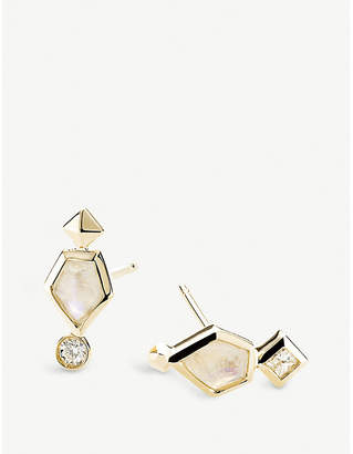Kendra Scott Bonnie 14ct yellow-gold and diamond earrings