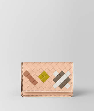 Bottega Veneta PEACH ROSE INTRECCIATO ABSTRACT CARD CASE