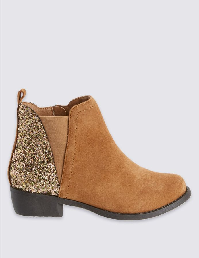 marks and spencer suede side zipped glitter boots