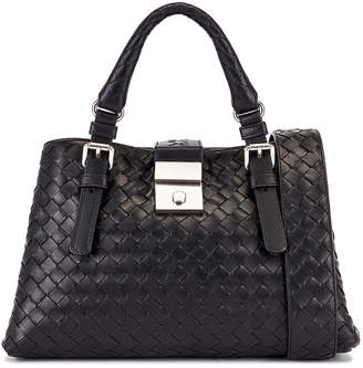 Bottega Veneta Woven Tote Crossbody Bag in Black & Silver | FWRD