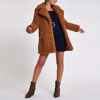 River Island Petite brown shearling fur longline coat