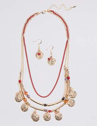 M&S Collection Triple Row Layered Necklace & Earrings Set