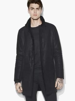 John Varvatos Stand Collar Shearling Coat