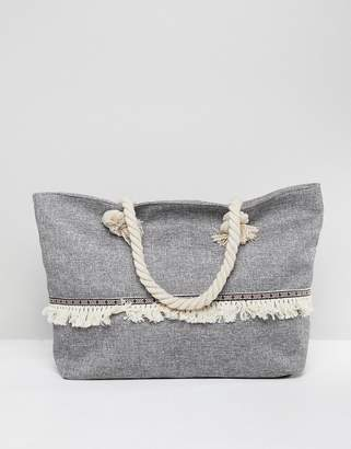 South Beach Canvas Tote With Plait And Fringe Trim And Knotted Rope Handles