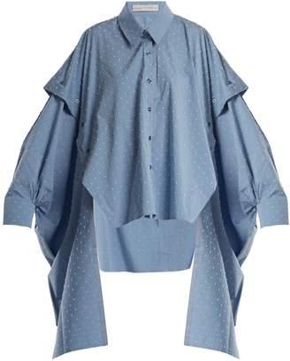 Palmer Harding PALMER/HARDING Point-collar fil-coupé cotton-blend shirt