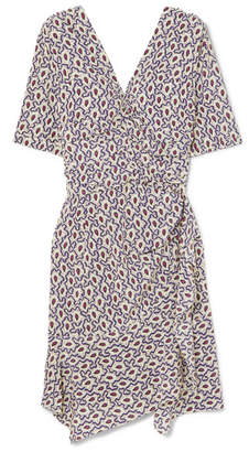 Isabel Marant Arodie Wrap-effect Printed Silk-blend Crepe De Chine Dress - Blue