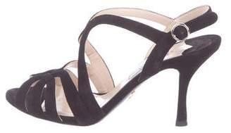 Prada Suede Mid-Heel Sandals