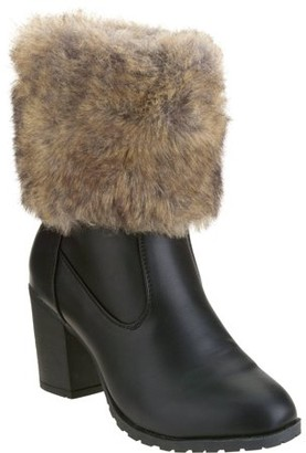 FOREVER YOUNG Forever Young Women's Faux Fur Trim Ankle Bootie