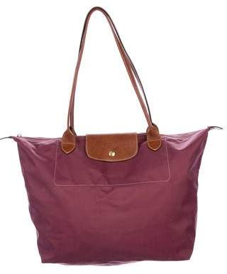 Longchamp Leather-Trimmed Le Pliage Tote